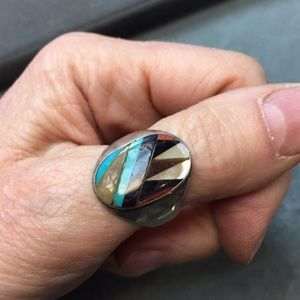 Other - Beat up American Indian ring - inlay